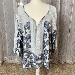 Free People Lace Trim Floral Flowy Tunic Large